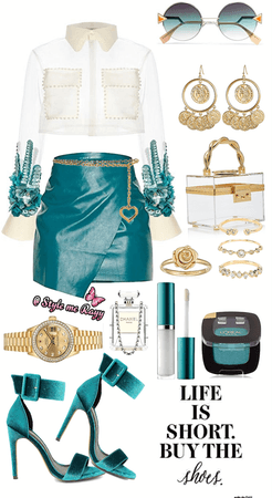 Teal White and Clear