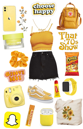 yellow themed high school outfit