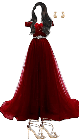 red poofy prom dress
