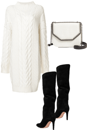 Knit sweater dress and knee high boots