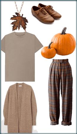 Casual Dark Academic Pumpkin Patch Girl