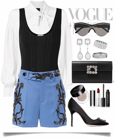 formal tops with blue short pants