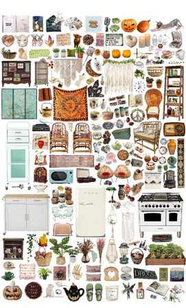 hippie+cottagecore kitchen