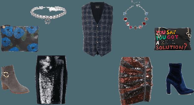 Menswear Vest as Top w/ Sequin Skirt