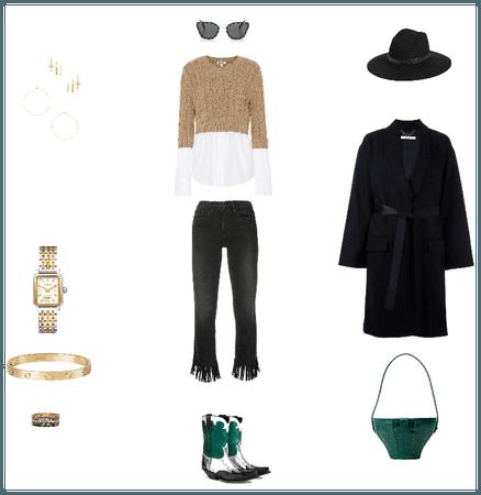 Green Beige White Black