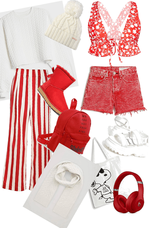 red and white summer and winter outfits x