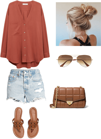orange oversized shirt and distressed denim shorts summer outfit