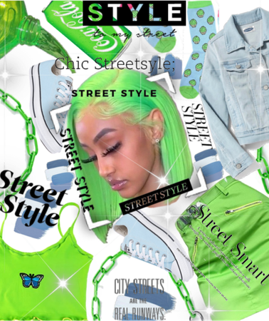 |For Spring Street style Challenge|Neon Green/Blue