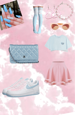 baby blue and pink pastel