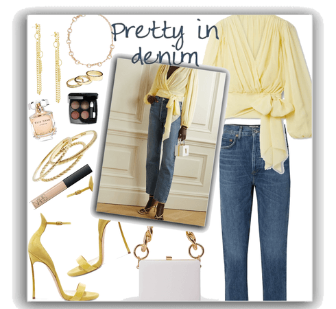 jeans +  a yellow blouse