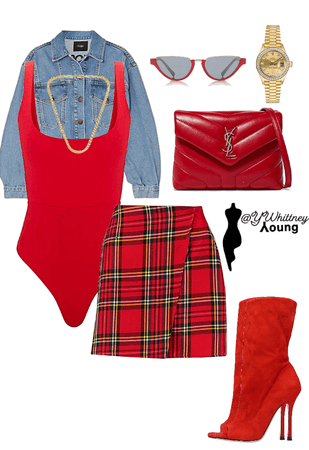 plaid and red
