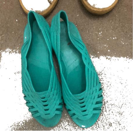 plastic turquoise sandals