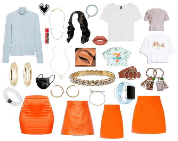 Orange skirt Outfit