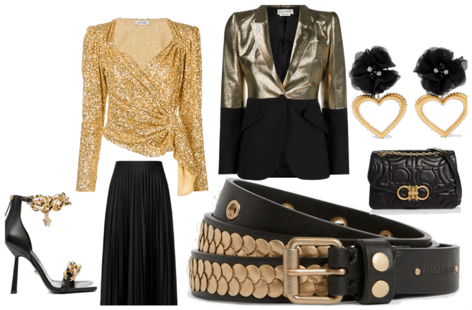 gold and black oufit