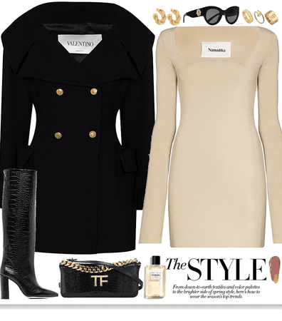 Black coat, tight beige dress and gold jewelry