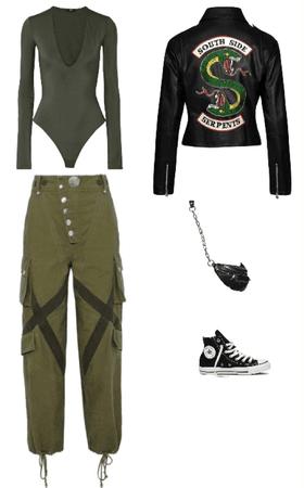 Outfit pantalón cargo babucha