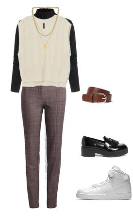 sweater vest and black turtleneck