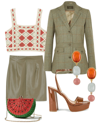 Green outfit with Watermelon bag