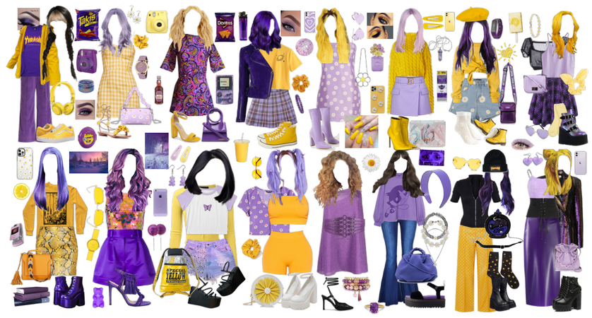 contrasting colors: gold and lilac