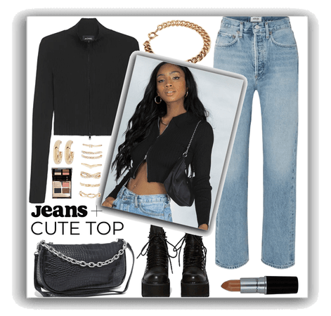 jeans and black zip cardigan top