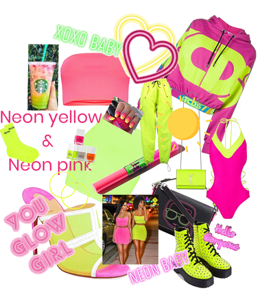 neon pink and neon yellow💛💗