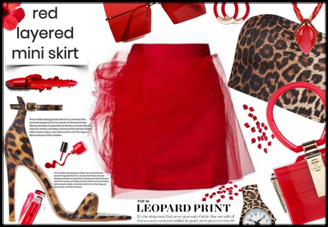Red Layered Mini Skirt