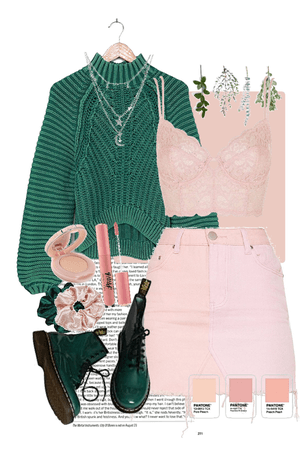 peach pink & pine green