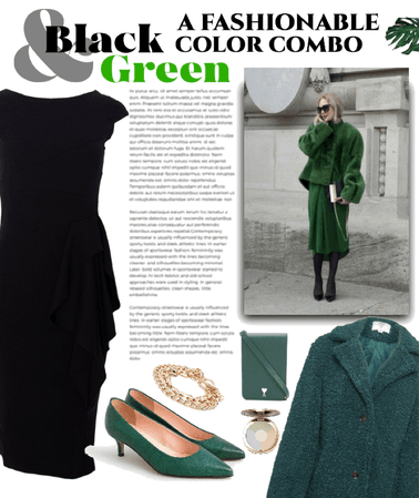 black dress/green shoes