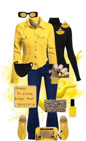 Black Turtleneck With Bright Yellow!!!