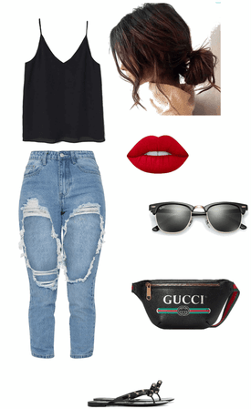 black tank top, boyfriend jeans, and Gucci belt bag summer outfit