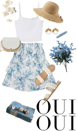 Parisian Blue floral summer outfit