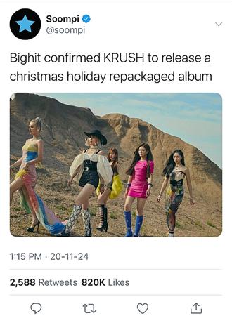 KRUSH Soompi Twitter Post