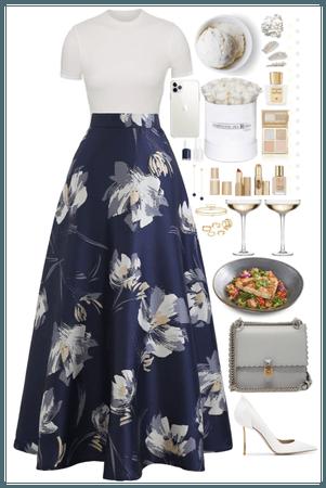 Floral Skirt + White