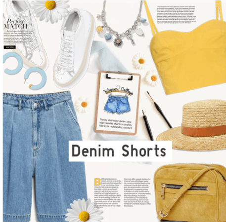 Perfect Match: Denim Shorts and Yellow Tank Top