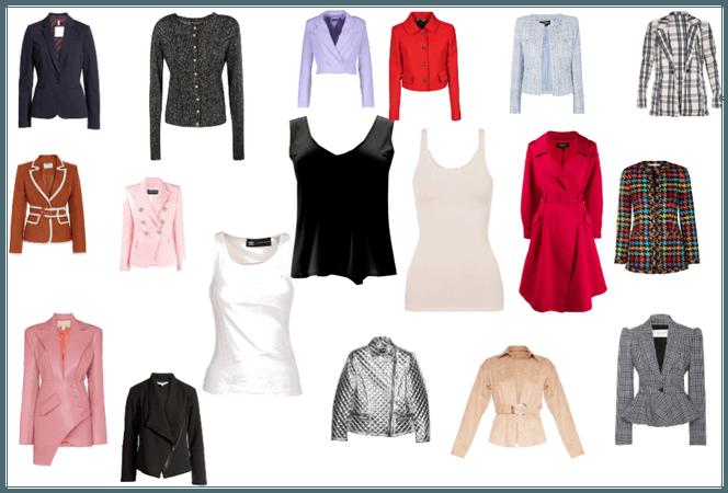Czarny, cielisty lub biały top + Żakiety, kurtki