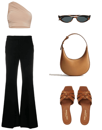 BLACK FLARE PANTS OUTFIT