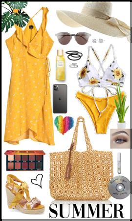 Beach day summer dress + swimsuit