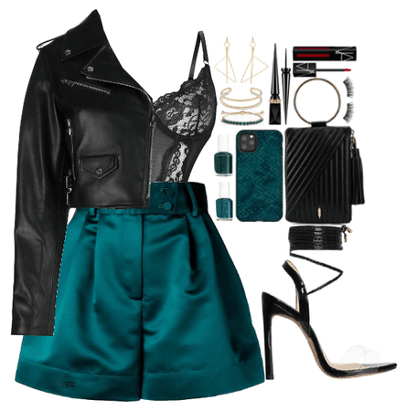Downtown date night. Teal+Black