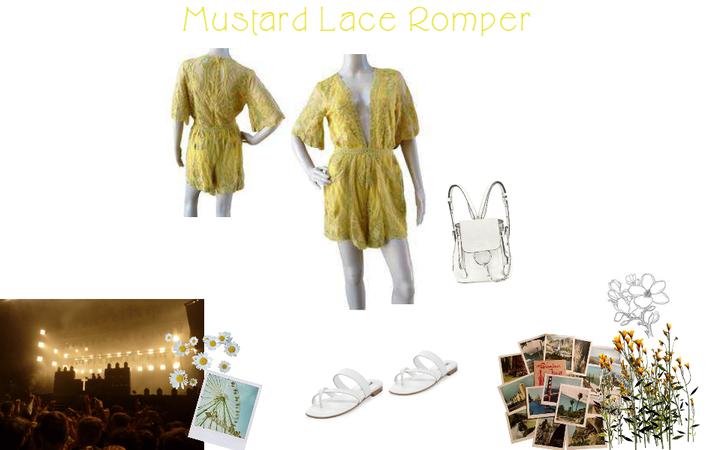 Mustard Lace Romper