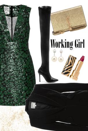 work girl in green