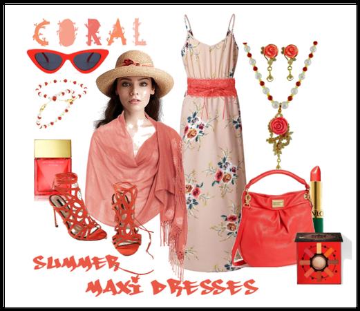 Coral Summer Maxi Dress