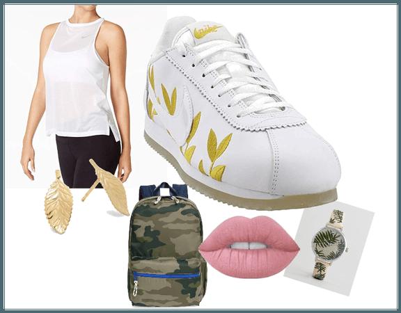 Gold Leaf Nike Cortez workout