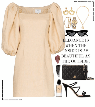 Beige dress & gold jewelry look