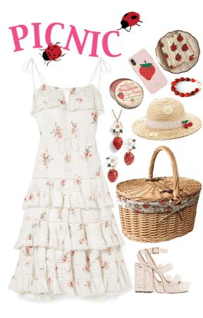 vintage strawberry picnic