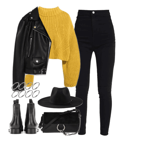 yellow&black fall outfit