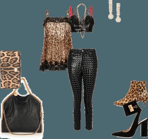 vinyl jeans set with leopard blouse