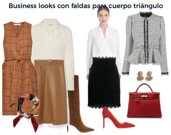 Business outfits with skirts for triangle body