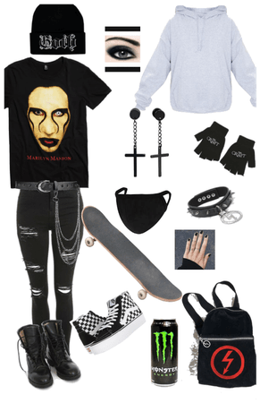 Emo gothic school outfit
