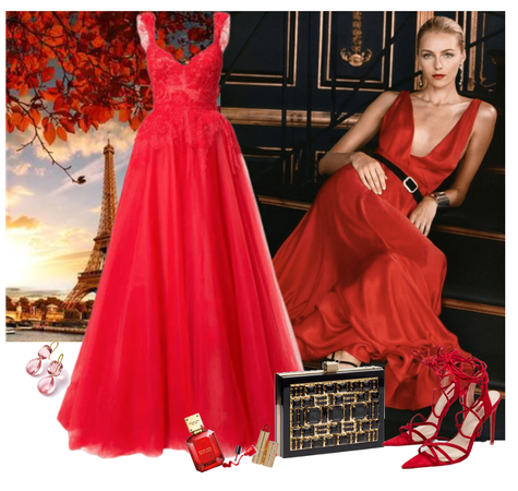 Red evening gown and fabulous red heels