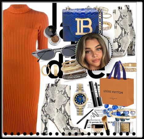 fall orange dress